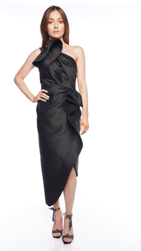 Darcher One Shoulder Ruffle Midi Dress