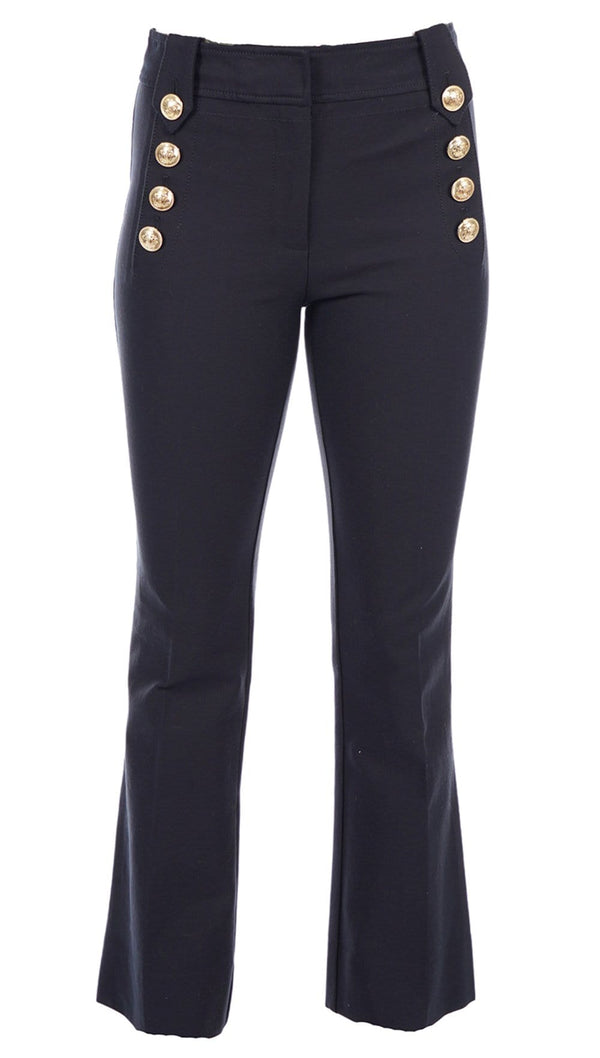 Robertson Midnight Blue Cropped Flare Trouser with Sailor Buttons