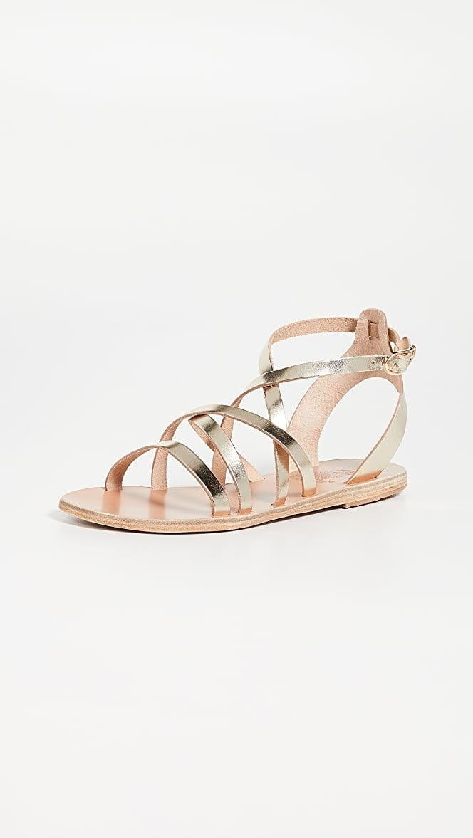 Ancient Greek Sandals - Delia Platinum Sandals