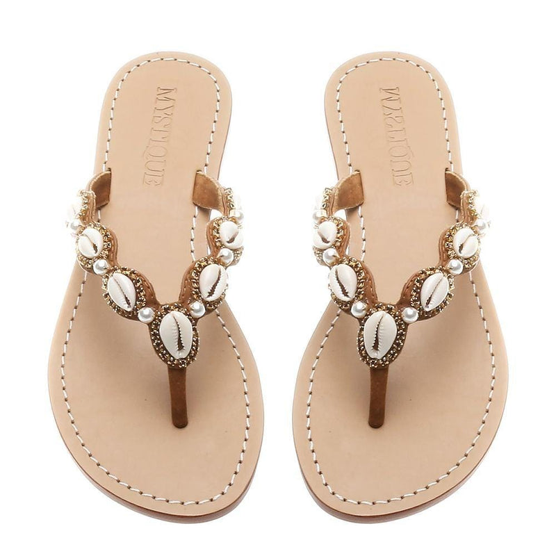 MYSTIQUE - Shell and Pearl Embroidered Flip Flops