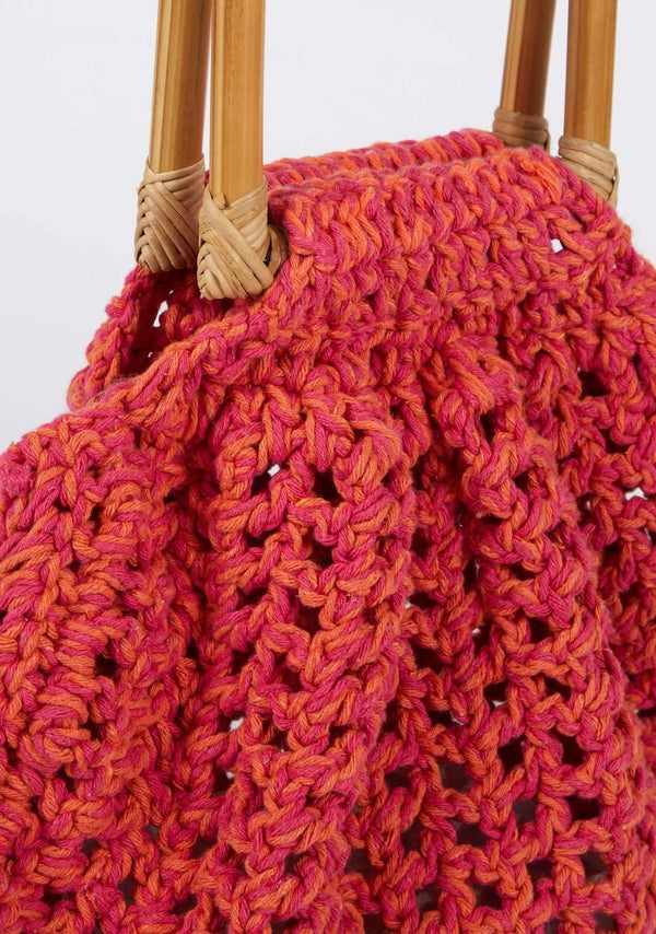 Amanda Macrame Bamboo Handle Bag