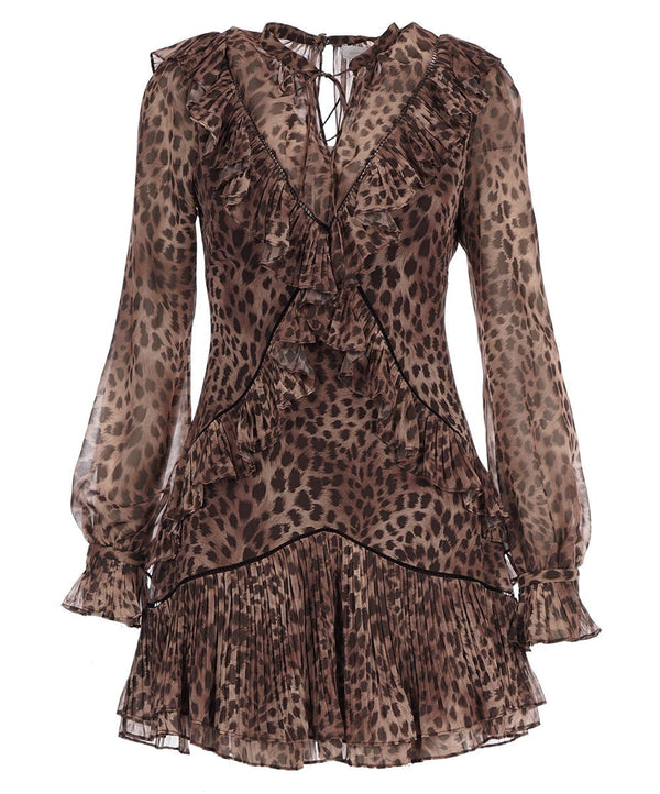 Joya Leopard Chiffon Ruffled Long Sleeve Mini Dress