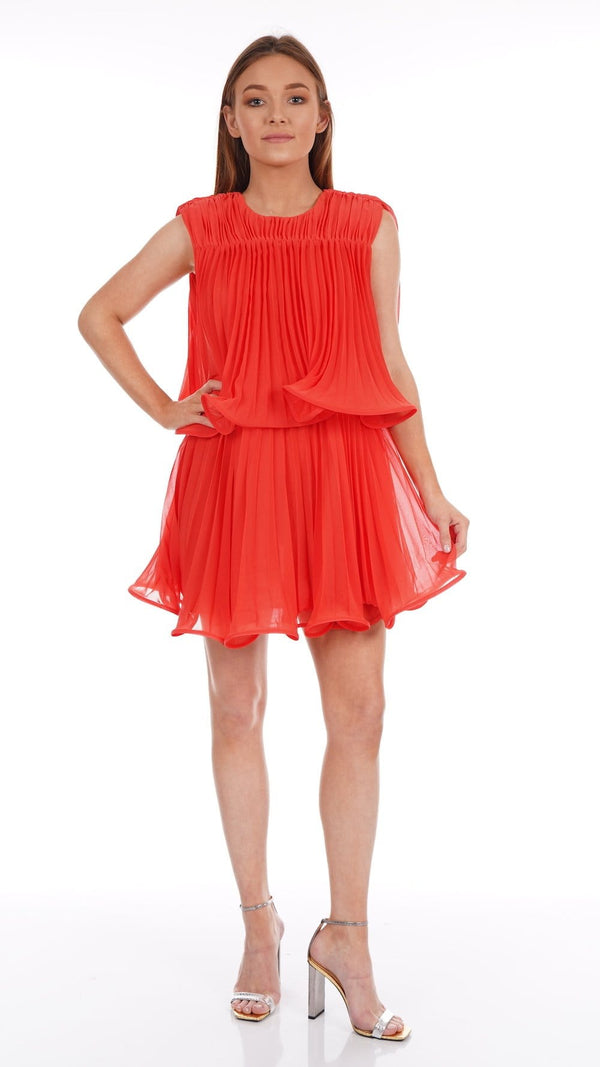 Ameris Tiger Lily Chiffon Pleated Mini Dress