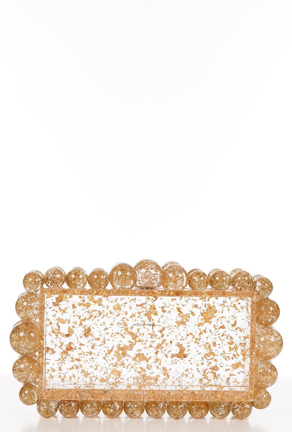 EOS Gold Flake Box Clutch
