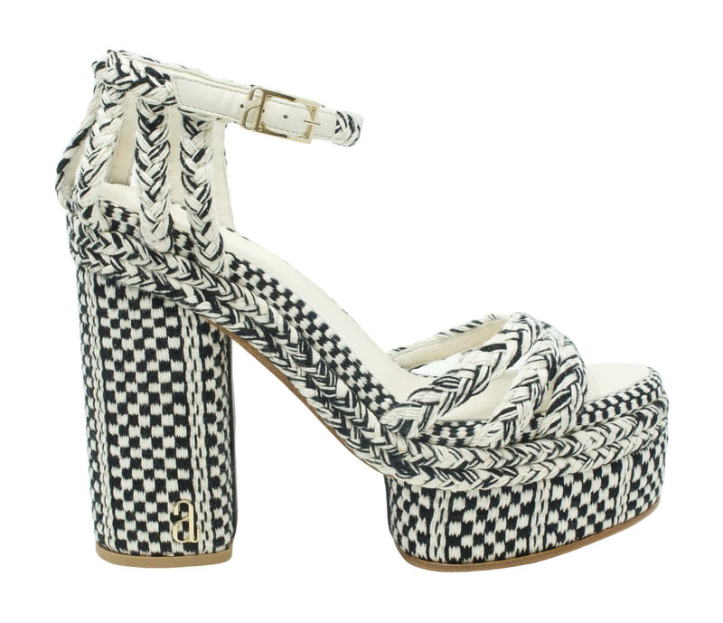 Ericka High Heel Platform Sandal - Black/White