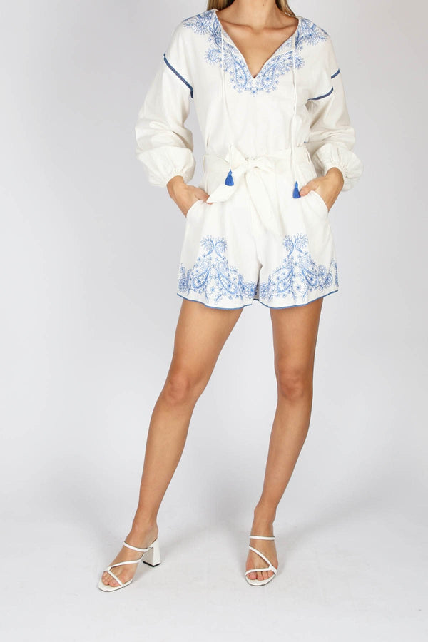 Azid Embroidered Flare Short