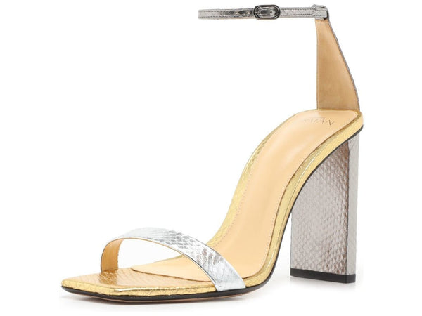 Dazzle 100mm Silver and Gold Snakeskin Heel