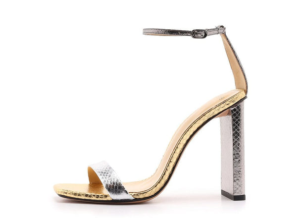 Alexandre Birman - Dazzle 100mm Silver and Gold Snakeskin Heel
