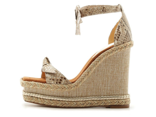 Clarita Python Platform Wedge With Knot