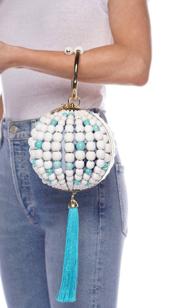 ROSANTICA Billie Light Blue Pazza Wooden Beaded Bag