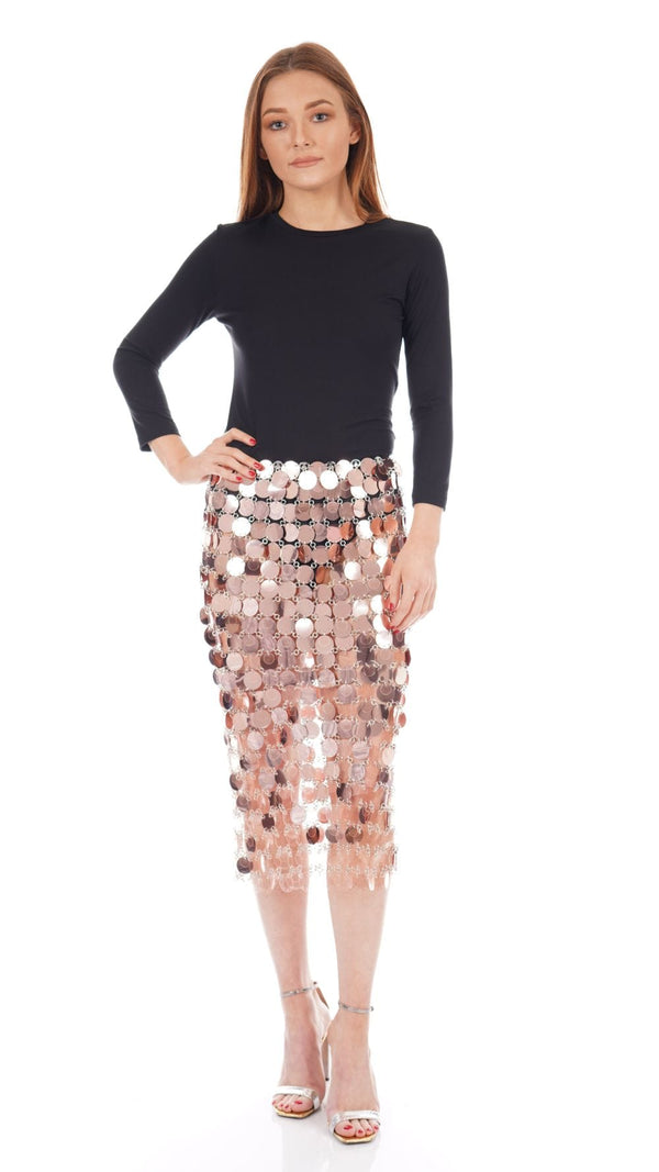 Paco Rabanne - Transparent Pink Sequin Disc Knee Length Skirt