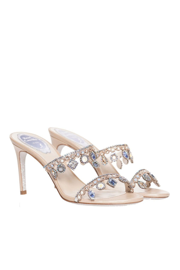 Beige Crystal Chandelier Heeled Sandal