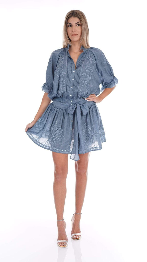 JULIET DUNN - Blue Denim Embroidered Blouson Mini Shirt Dress