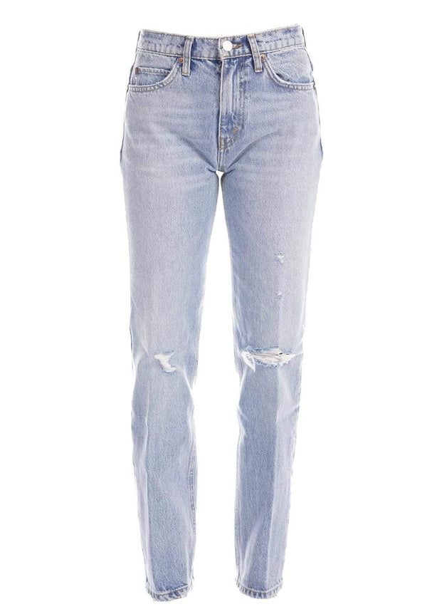 RE/DONE 70s Straight Destroyed Sunfaded Indigo Jeans