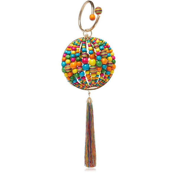 Billie Wooden Beaded Bag with Multi Beads