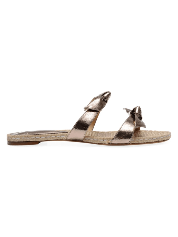 Alexandre Birman Clarita Metallic Bow Flat Sandals