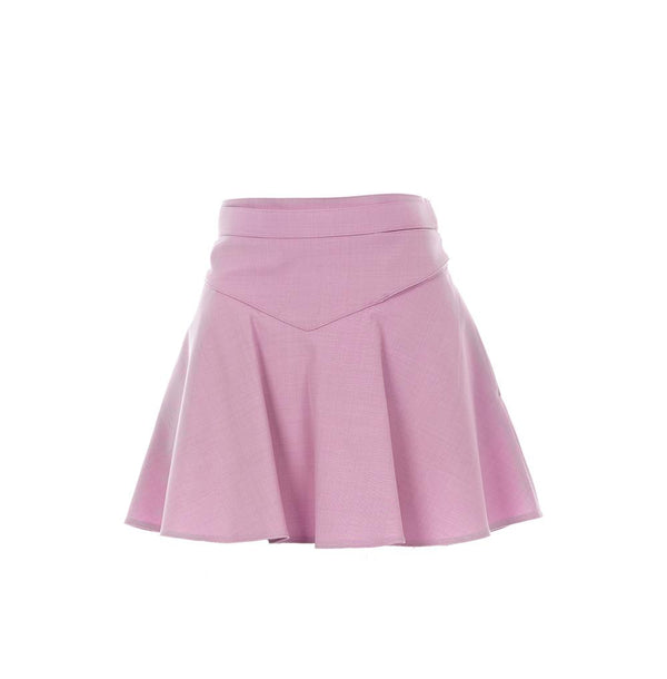 RED VALENTINO - Lilac Gabardine Ruffled Mini Skirt