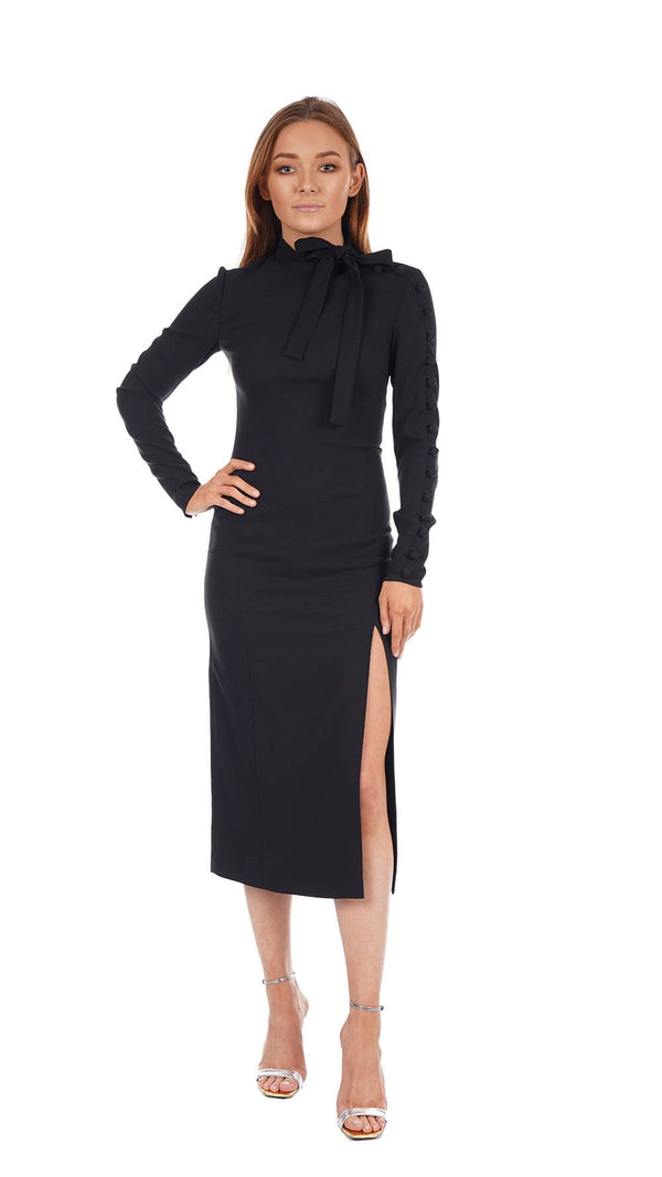 Long Sleeve Crepe Envers Satin Stretch Midi Dress