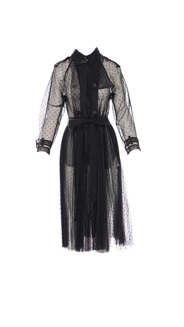 RED VALENTINO - Black Point D'Esprit Pleated Tulle Trench Coat With Polka Dot Detailing