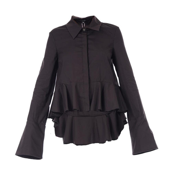 Maris Black Cotton Ruffled Button Down Shirt
