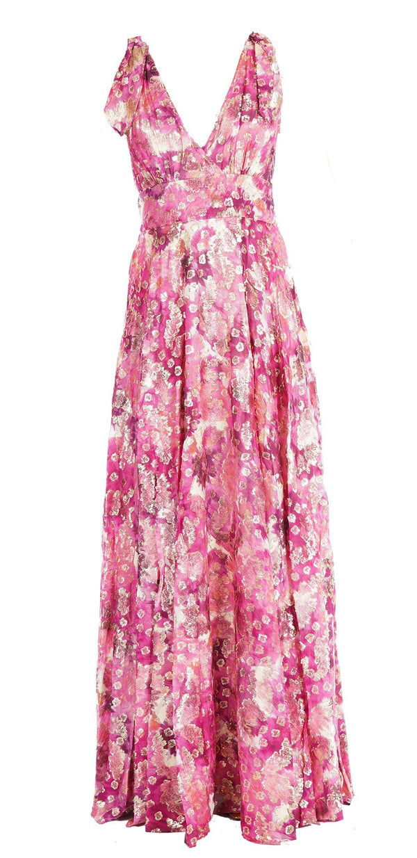 Bloom Metallic Floral Sleeveless Maxi Dress