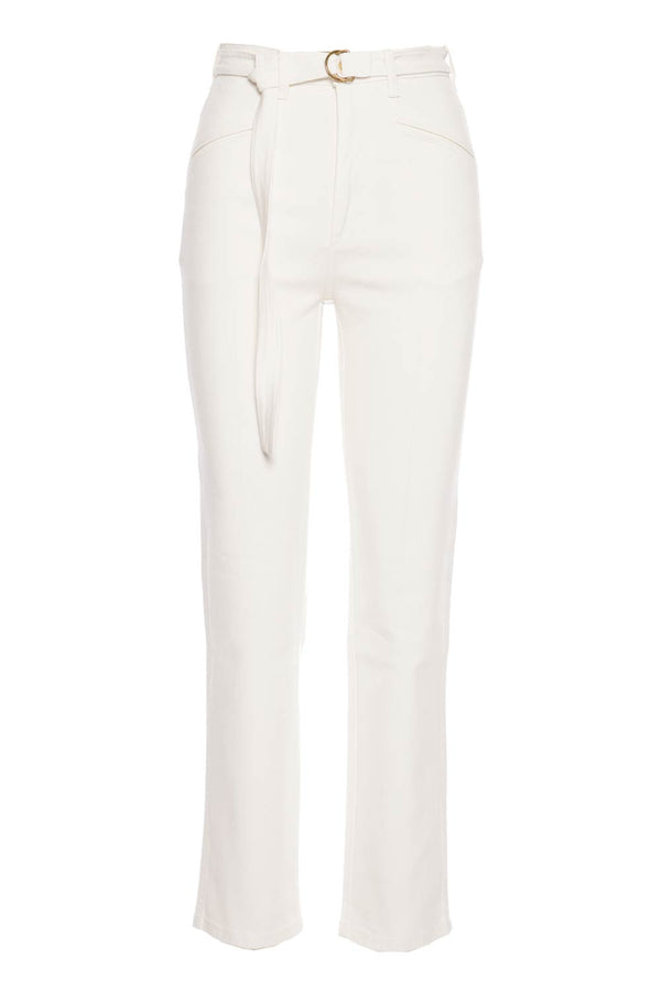 Cotton Drill High Waisted Belted Pants