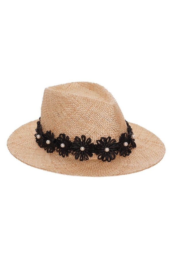 Eugenia Kim - Blaine Black Flower Straw Sunhat