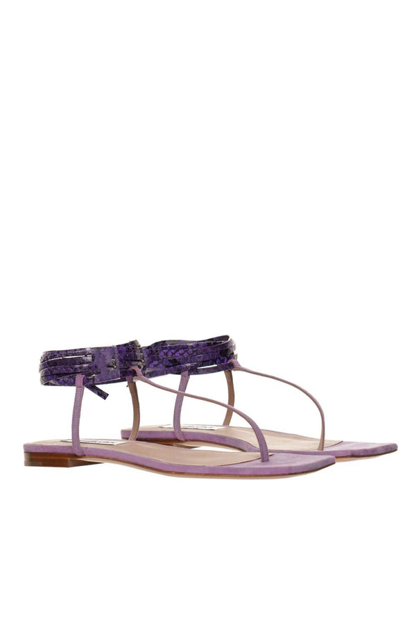 Sebastian Snake Print And Suede Purple Thong Sandal