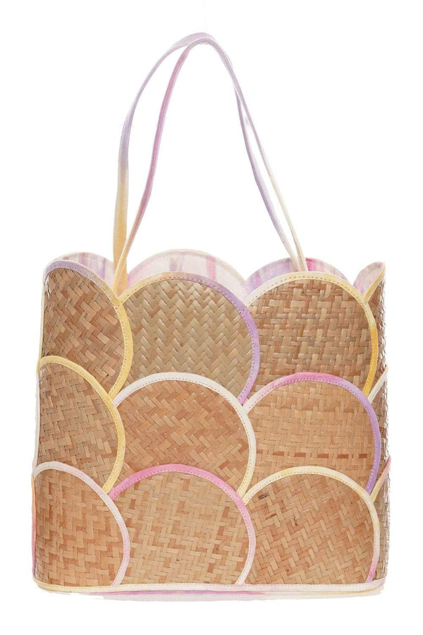 POOLSIDE - Scallop Straw Tote With Tie Dye Lining