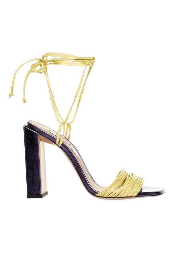 Yellow And Purple High Heel Leather Sandal