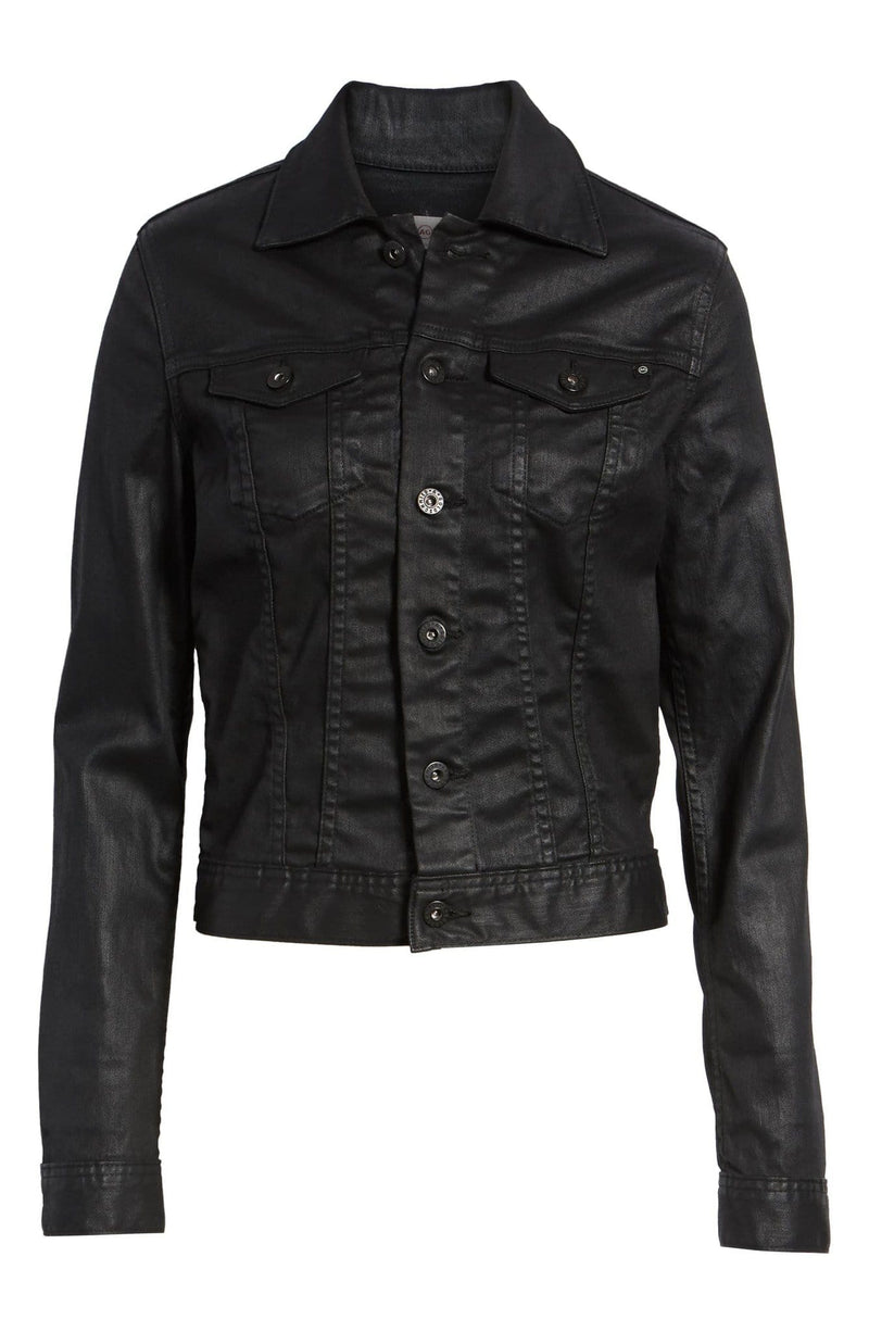 ROBYN LACQUERED JEAN JACKET BLACK