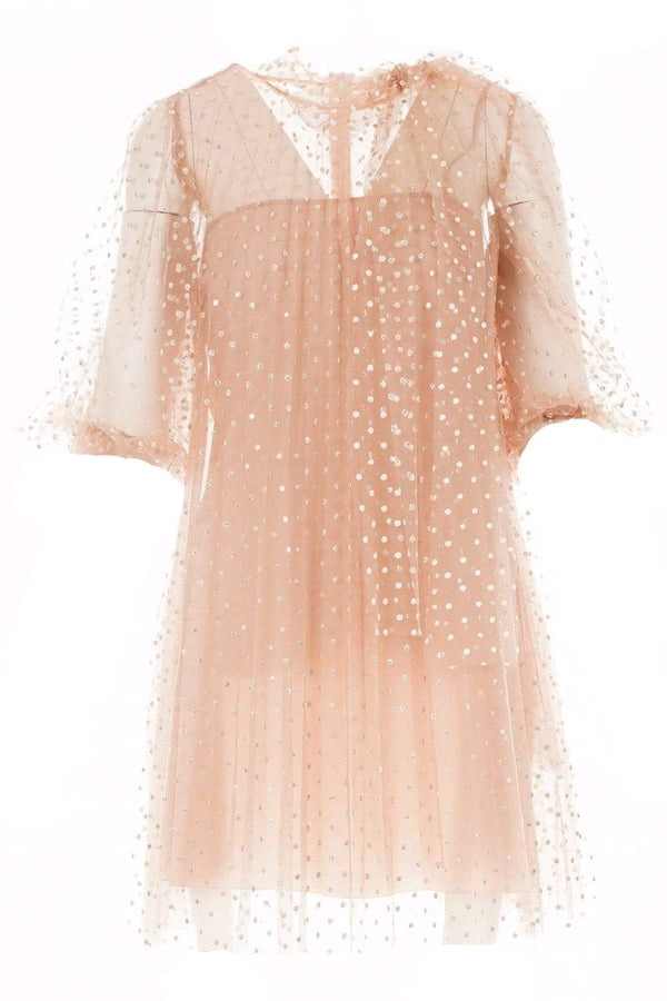 RED VALENTINO - Nude Glitter Polka Dot Tulle Mini Dress
