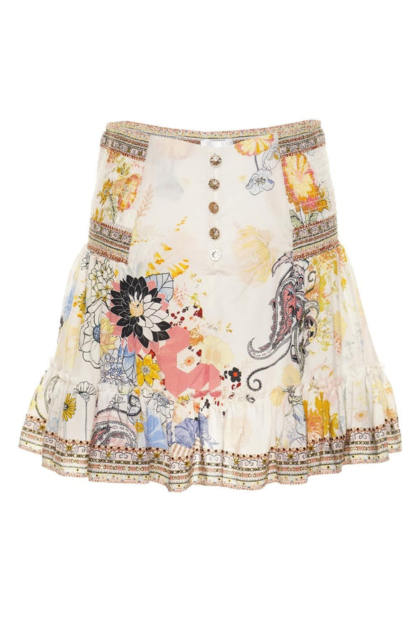 Britain Bouquet Button Down Frill Skirt