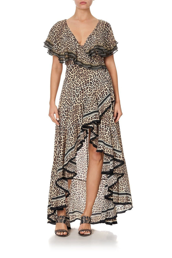 Sex Kitten Frilled Sleeve High-Low Maxi Dress