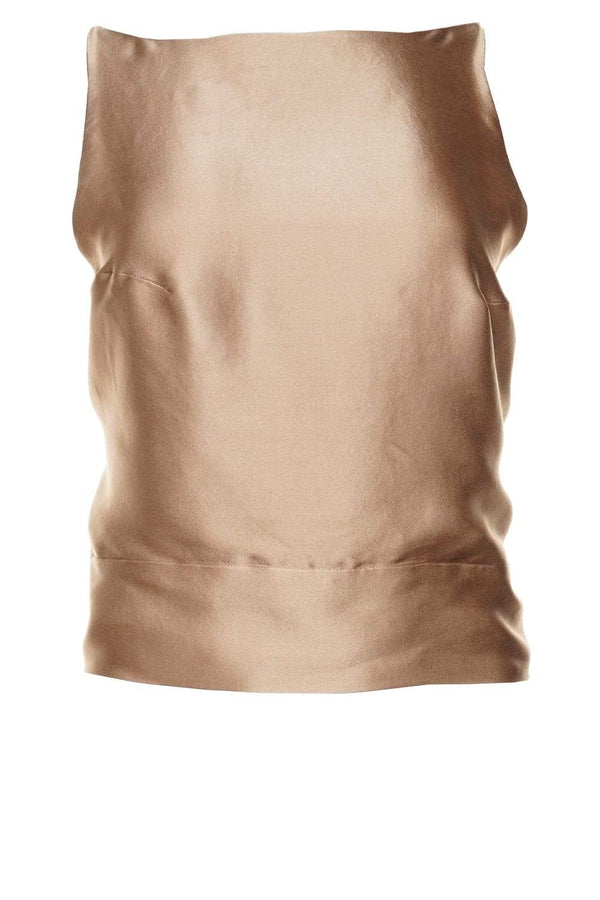 Audrey Caramel Silk Open-Back Top