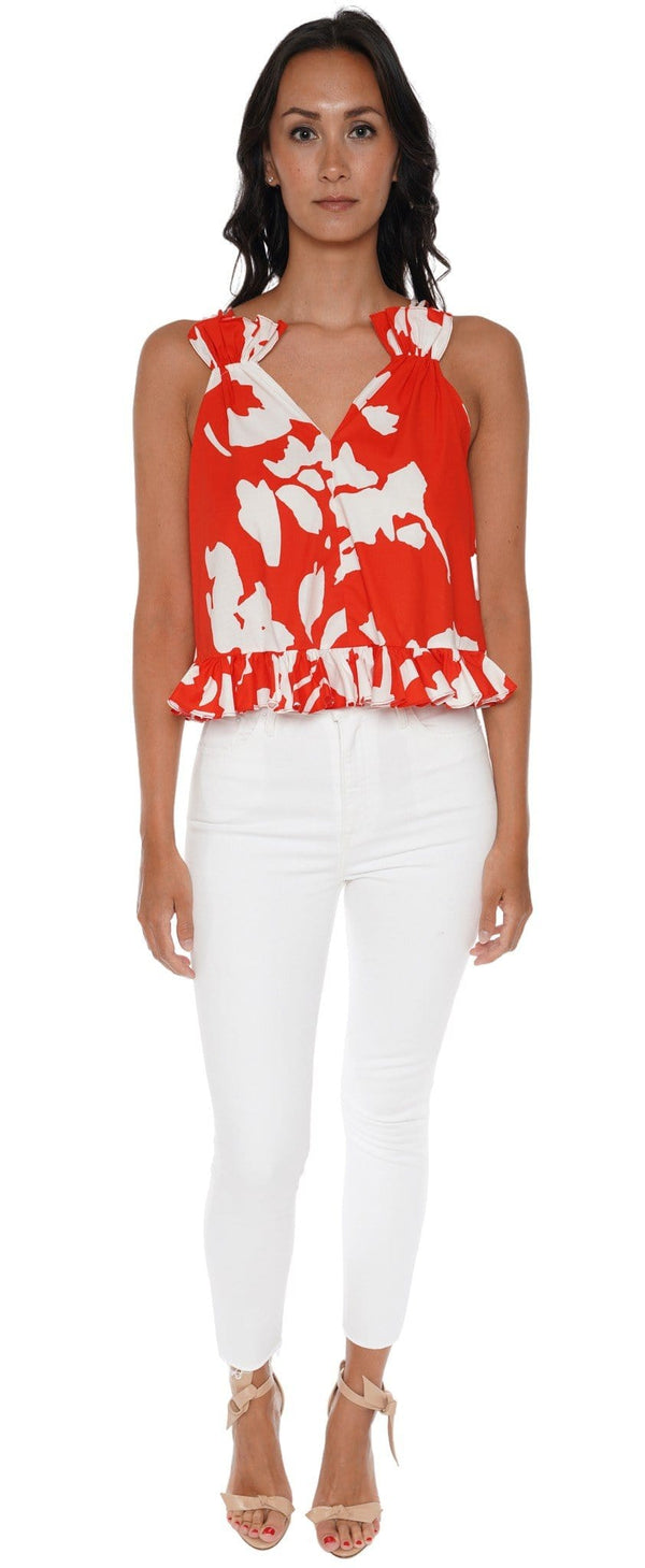 Mara Red Abstract Floral Top