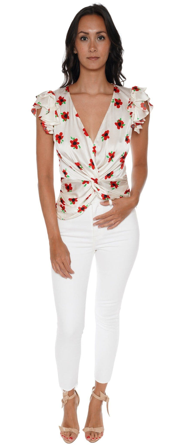 Rheya Floral Twist Silk Blouse