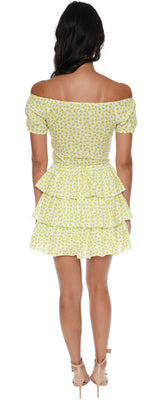 Caroline Constas Crete Lemon Ruffle Mini Dress