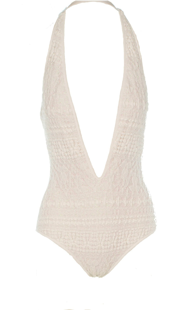 CHIO - Glitter Knit Halter One Piece Swimsuit