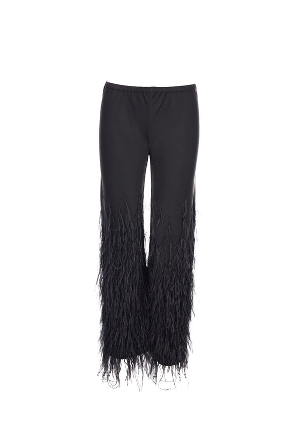 Karis Embellished Satin Flared Feather Pants