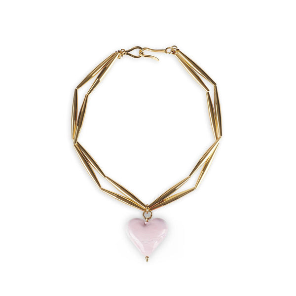 TOHUM - Helia Cuore Duo Necklace With Pink Heart