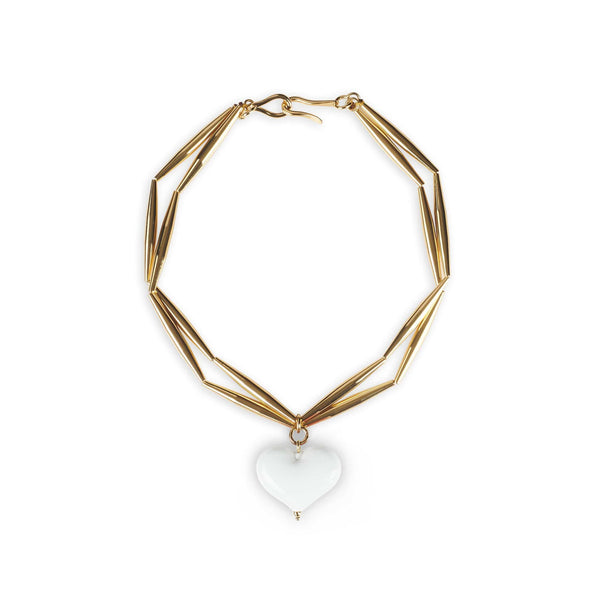 TOHUM - Helia Cuore Duo Necklace With White Heart