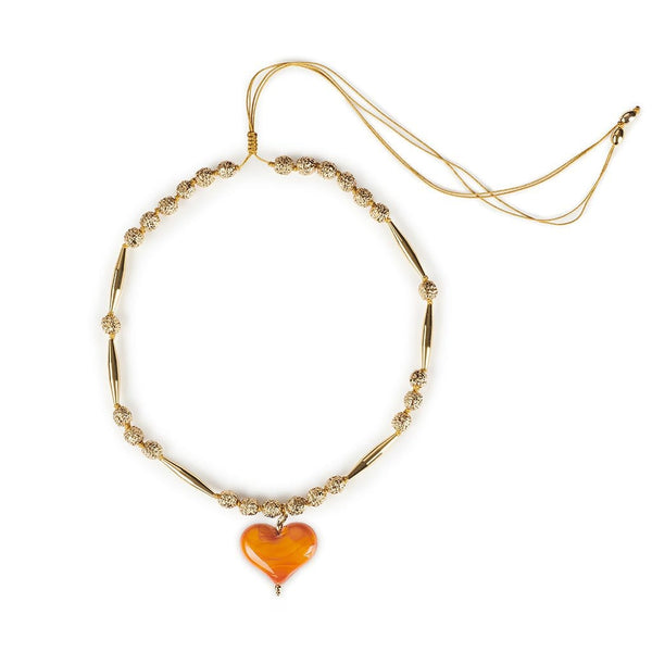 TOHUM Helia Cuore Necklace III With Orange Heart