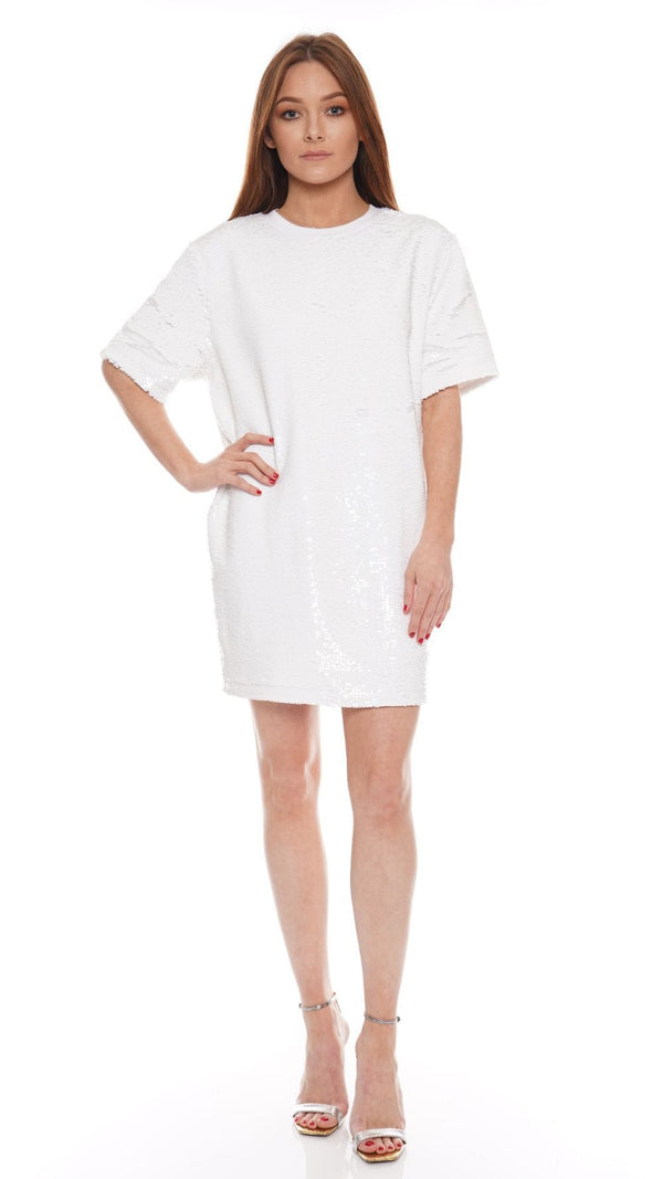 RtA - Romy Comet White Sequined T-Shirt Dress
