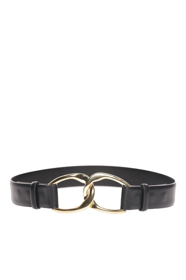 Black Leather Gold-Toned Link Belt