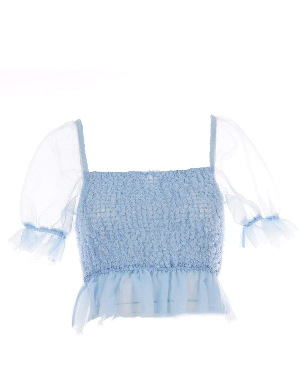 Staud - Cannon French Blue Puff-Sleeve Top