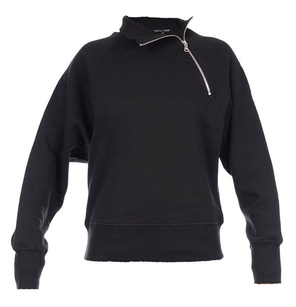 So Uptight Black Funnel Neck Zip Sweatshirt