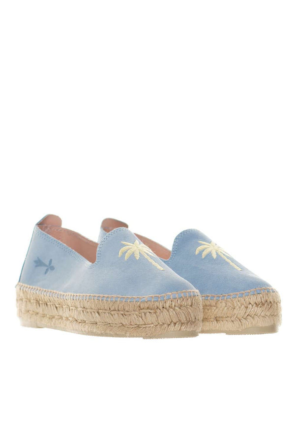 Palm Springs Blue & Yellow Palm Espadrilles