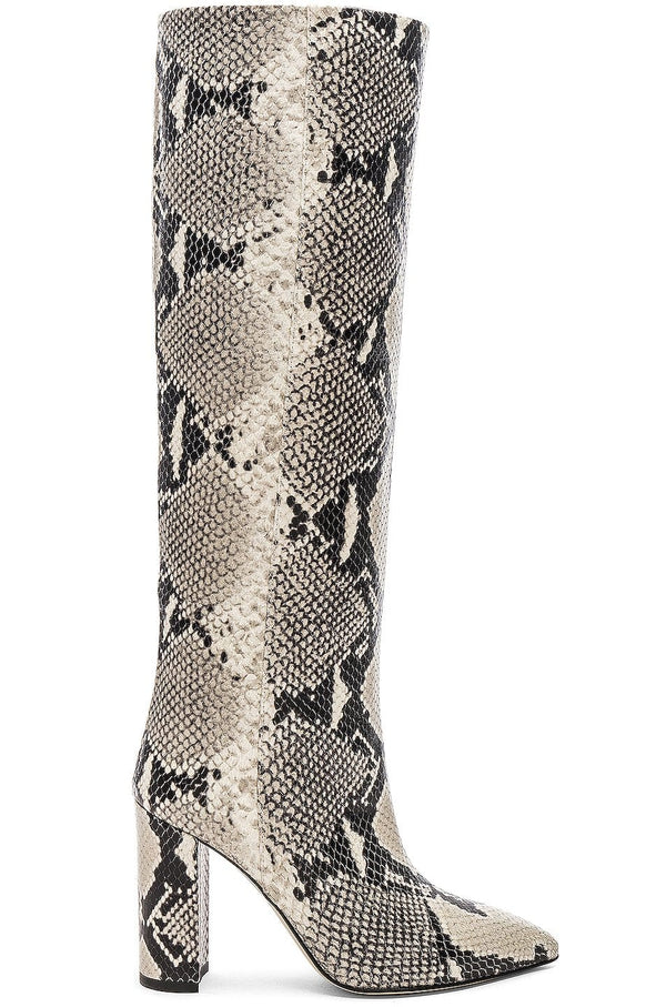 Paris Texas Python Print Knee High Boots