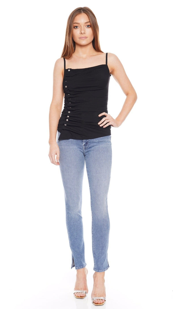 Studded Ruched Stretch-Jersey Tank
